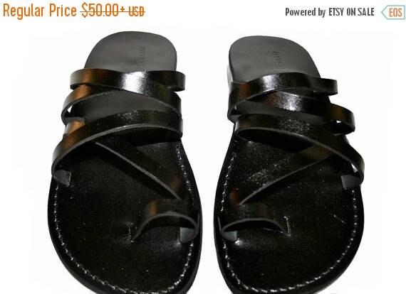 15% Off Black Buckle-free Leather Sandals For Men & Women - Handmade Sandals, Leather Flats, Leather Flip Flops, Black Unisex Leather Sandal
