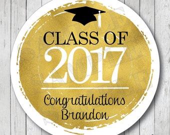 Personalized Faux Gold Foil Graduation Stickers, Class of 2017 Stickers, Graduation Tags, Graduation Labels
