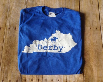 Blue  Kentucky Derby V-neck t-shirt, tri blend tee, Kentucky state shirt, Talk Derby to me
