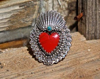 Rosearita And Turquoise Milagro Heart Ring