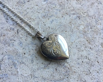 Vintage silver heart locket necklace, engraved locket, FREE UK SHIPPING