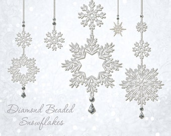 Christmas Designer Gems - DIAMOND BEADED SNOWFLAKES - (5) Flat .png files - Photography Overlays For Your Photos and Quick Pages.