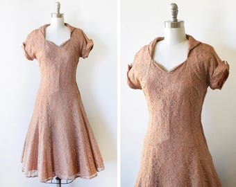 vintage 50s lace dress, 1950s party dress, light brown lace dress, small s