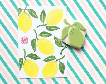 lemon rubber stamp, lime stamp, tropical citrus fruit hand carved stamp, summer scrapbooking, lemon gift wrapping, stamps by talktothesun