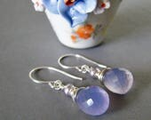 Lavender Chalcedony Earrings, Sterling Silver Chalcedony Dangle Earrings, Short Wire Wrapped Drop Earrings