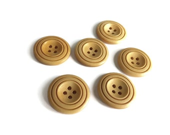 Natural Wood Buttons 30mm - set of 6 natural sewing wood button  #BB130B