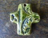 Chunky Rich Green Scroll Boho Ceramic Cross Pendant