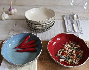 12 pasta bowl set, Handmade ceramic pasta bowl, handmade bowl set, salad bowl set, Soup bowl set, Large serving bowl, Christmas Wedding gift