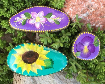 Set of 3 - Two sided - Hand painted - Idaho River Rocks - Acrylic Original - Courage Power Strength - Sunflower - Daisy -Pansy-Inspiration