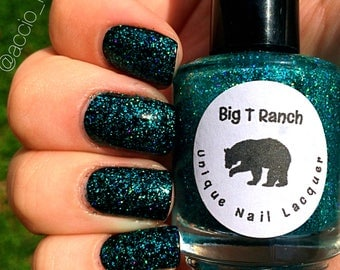"""Holographic Nail Polish - Teal Micro Glitter Top Coat - """"Northern Lights"""" - Hand Blended - 0.5 oz Full Sized Bottle"""