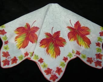 "Vintage 15"" Scalloped Fall Autumn Leaves Leaf Floral Wedding Favor, Craft Handkerchief - 9791"