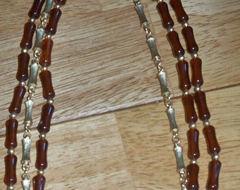 SALE Vintage Napier Beads Triple Strands Necklace, Amber or Rootbeer