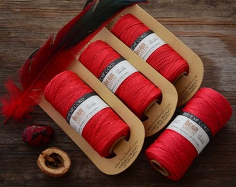 Scarlet Red Natural Hemp Cord, 10lb cord, spool of 120 meters (394 feet) / Cording, Stringing, Macrame, Eco Friendly Cord / Jewelry Supplies