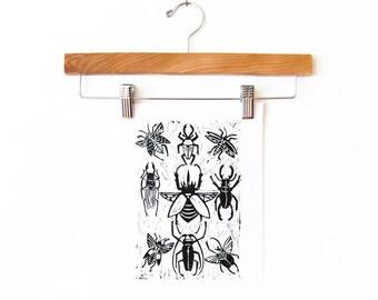 Beetles Block Print