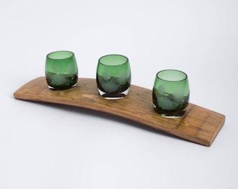 Wine Barrel Votive Set with Etched Green Aspen Glass