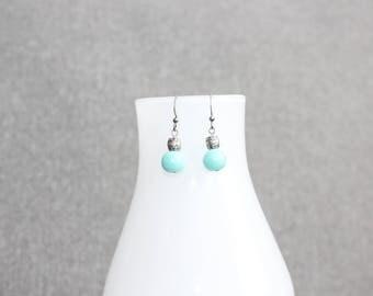 Boucles d'oreilles fantaisie, perle, turquoise, boucles d'oreilles chic, classique, fancy, boucles doreilles femme, fait au Québec