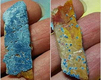 Blue Shattuckite On Terminated Quartz Crystal Mineral Specimen From Namibia