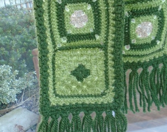 GREEN GRANNY squares scarf 2 with fringes beige fawn OOAK unique crochet creation