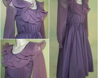 S M 70s Disco Diva Dusty Purple Slip on Knit Dress Lettuce Ruffled Neckline Swing Skirt Sheer Sleeves Plum