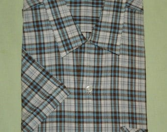 L 16 / 16-1/2 1950s Sanforized Deadstock Short Sleeve Shirt Loop Collar Jamaica B.W.I. Resort Blue Plaid Rockabilly Cruise New Old Stock