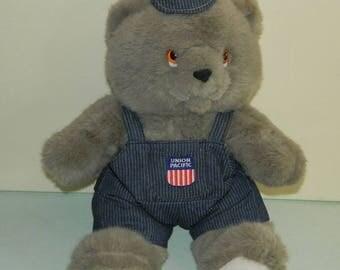 Union Pacific Teddy Bear Railroad Stripe Overalls and Cap Souvenir Collectible