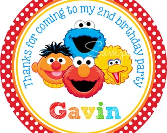 Sesame Street Personalized Stickers, Sesame Street Friends Personalized Stickers or Gift Tags, Sesame Street Birthday Party, Set of 12