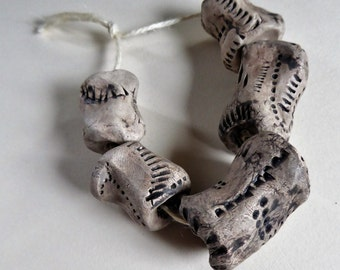 Artisan made ceramic beads - set of 5 - XL