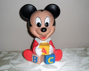 1984 Disney Shelcore ABC Rubber Baby Squeeze Squeeky Sound Toy Mickey Mouse