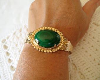 Elegant Filigree Gold Tone Green Decorated Cuff Bracelet