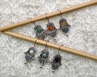 knitting stitch markers - Hamsa Hand - Hand of Fatima - gemstone beads - snag free loops - set of 6 - three loop sizes available