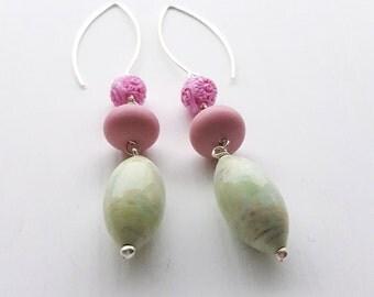 three scoops - earrings - vintage lucite and sterling - long earrings - flower earrings
