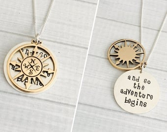 Graduation Jewelry - The Adventure Begins - Graduation Gift - Inspirational Gift - New Job - Retirement - 2-Tone Hidden Message Necklace