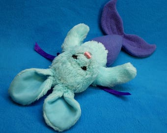 Blue Purple Mer-Bunny from recycled plush