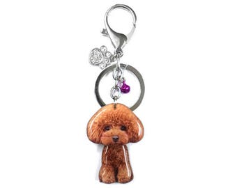 Cute Brown Toy Poodle Puppy Dog Shaking Head Keychain / Bag Charm - SB050-BK50 / Poodle keychain / Pet loss / Dog ID tag / Pet memorial