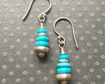 Sleeping Beauty Turquoise- Fine Silver Dangle Earrings- Turquoise Earrings- December Birthstone