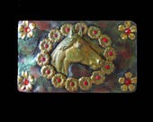 Women's Western Horse Belt Buckle Made with Brass Stampings and Red Rhinestones