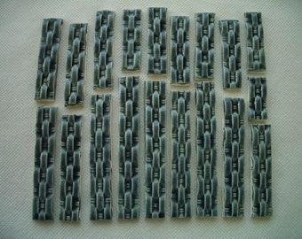19DB - 19 pc MOSAIC BLUE Basket Weave Border Tiles - Ceramic Mosaic Tiles