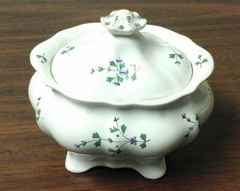 Staffordshire Sprig Porcelain Sugar Bowl
