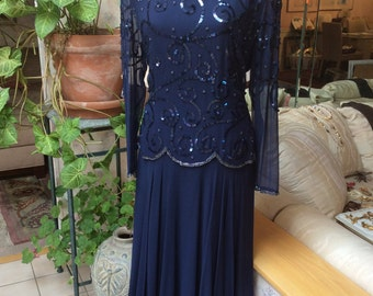 Vintage navy blue silk beaded waltz gown, 80s style navy blue silk beaded evening dress, navy blue sequined tea length formal gown sz M