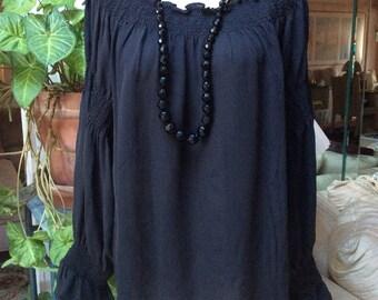 Vintage black silk off shoulders peasant blouse, poets sleeve black silk blouse, elastic trim neck sleeves black silk blouse, black pirates