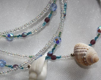 5 Strand Shell and Czech Fire Glass Necklace