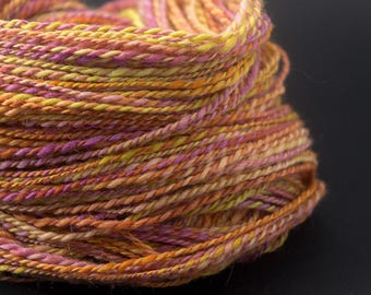 Spirit of India : handspun yarn wool, worsted, 200 yards / hand painted hand dyed handpainted hand spun