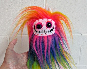 Monster Plush - Skeleton Plush - Handmade Skelly Plush - Rainbow Faux Fur Monster - Plush Skeleton Toy - Weird Toy - Cute Skeleton Plush