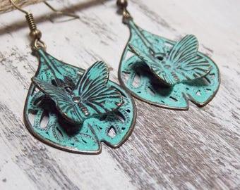 Butterfly Earrings Patina Blue Earrings Minimalist Jewelry