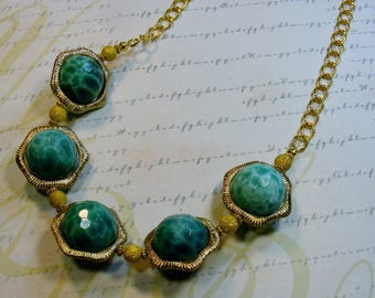 Peacock Agate from Africa-chunky necklace, green and gold,  24 inches or 61 cm