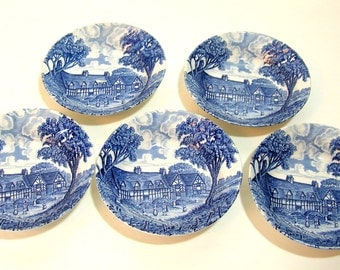 "Royal Essex Ironstone, Mary Arden's House, 5 1/4"" Bowls, Set of Five"