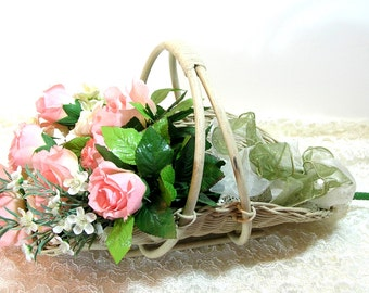 Vintage Gathering Basket with Pink Silk Roses Bouquet