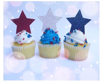 Star Cupcake Toppers| Memorial Day Toppers| Memorial Decorations| Patriotic Toppers| Patriotic Picks| Cupcake Picks| Mini Cupcake Picks