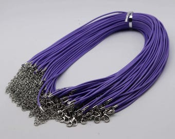 NEW 10pcs 2.0mm 18-20 inch Adjustable compressed cotton quality necklace cord - Purple