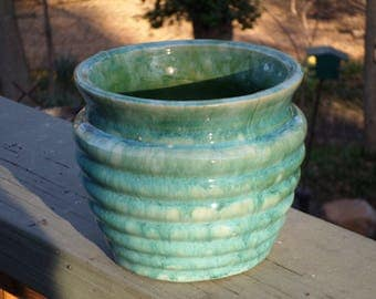 1920's McCoy Pottery beehive ringware small jardineire Flower Pot turquoise seafoam green bowl
